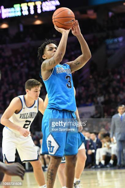 Georgetown Hoyas guard James Akinjo takes a foul shot during the game between the Georgetown Hoyas and the Villanova Wildcats on February 3 2019 at...