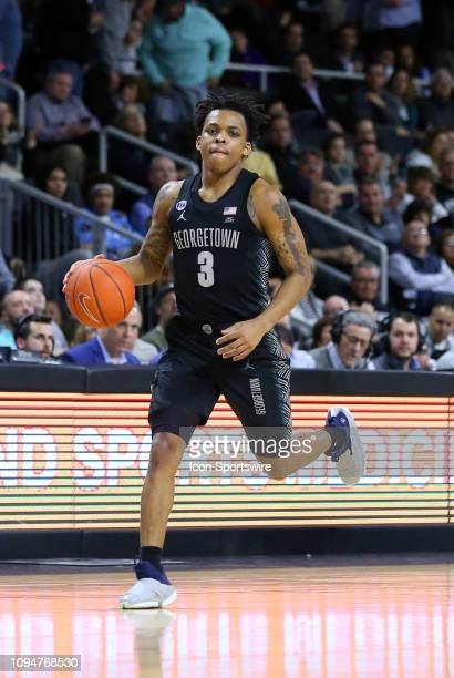 Georgetown Hoyas guard James Akinjo with the ball during a college basketball game between Georgetown Hoyas and Providence Friars on February 6 at...