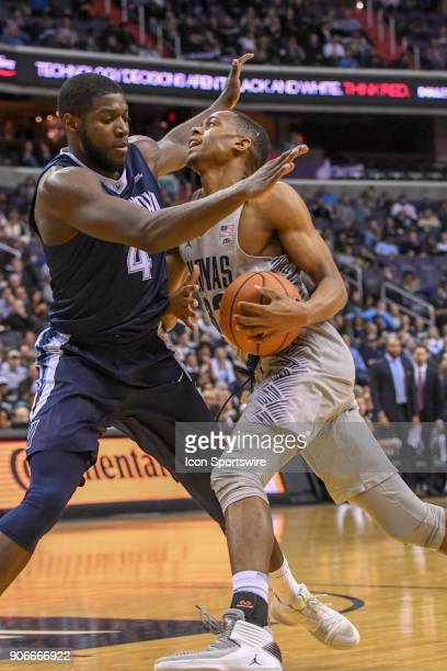 Georgetown Hoyas guard Kaleb Johnson drives to the basket against Villanova Wildcats forward Eric Paschall on January 17 at the Capital One Arena in...