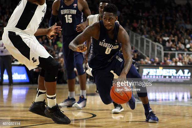 Georgetown Hoyas guard LJ Peak drives to the basket during the second half of an NCAA basketball game between Georgetown Hoyas and Providence Friars...