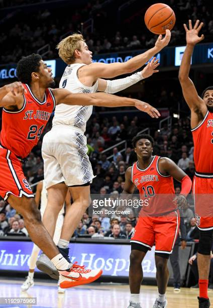 Georgetown Hoyas guard Mac McClung goes to the basket in the first half against St John's Red Storm guard Nick Rutherford on January 8 at the Capital...