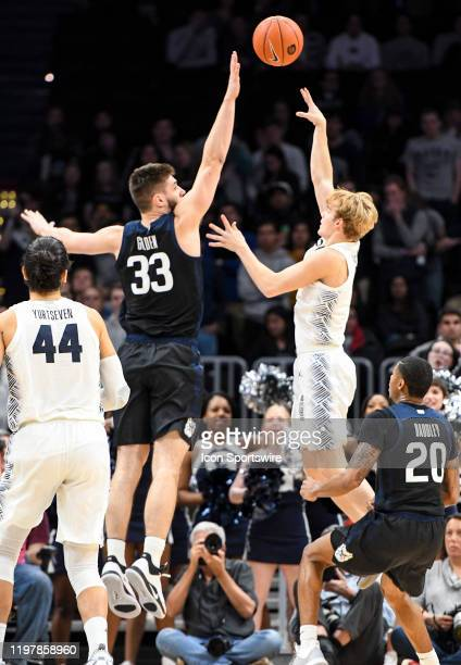 Georgetown Hoyas guard Mac McClung shoots over Butler Bulldogs forward Bryce Golden on January 28 at the Capital One Arena in Washington DC