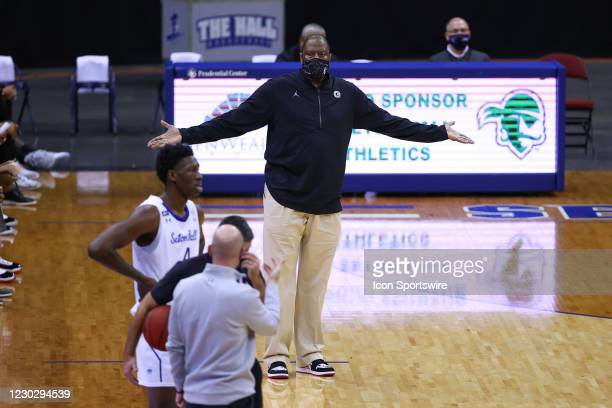 Georgetown Hoyas head coach Patrick Ewing during the college basketball game between the Seton Hall Pirates and the Georgetown Hoyas on December 23,...