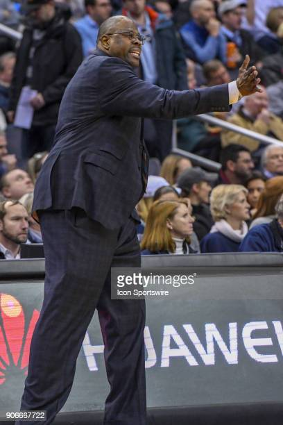 Georgetown Hoyas head coach Patrick Ewing reacts during the first half on January 17 at the Capital One Arena in Washington DC