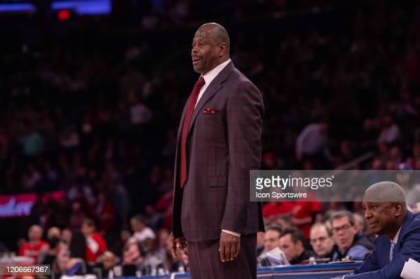 Georgetown Hoyas head coach Patrick Ewing reacts during the second half of the Big East tournament first round game between the St. Johns Red Storm...