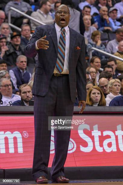 Georgetown Hoyas head coach Patrick Ewing reacts on the bench on January 17 at the Capital One Arena in Washington DC The Villanova Wildcats defeated...