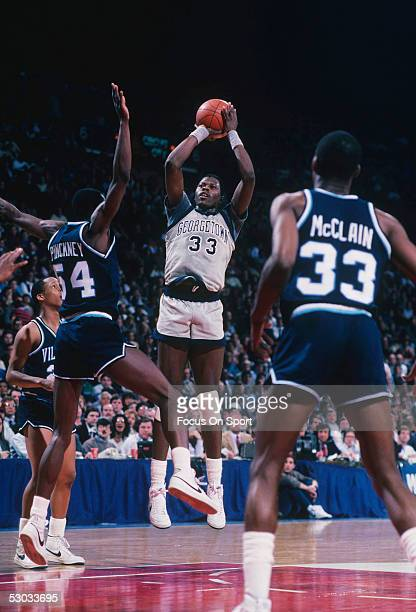 Georgetown Hoyas' Patrick Ewing makes a jumpshot during a game