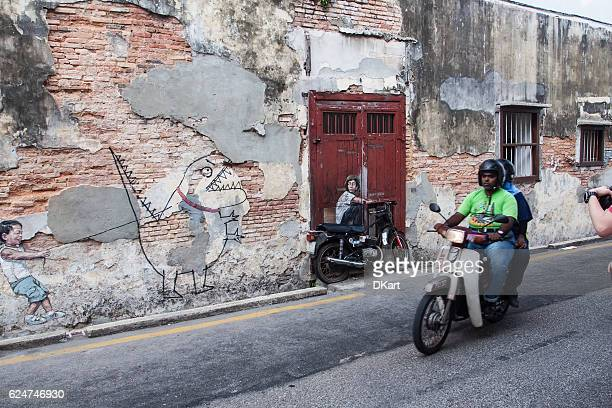 georgetown street - george town penang stock photos and pictures