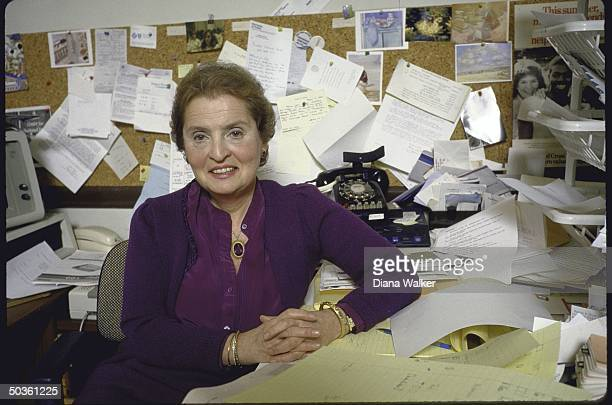 Georgetown Univ professor Madeleine K Albright foreign policy advisor to presidential candidate Michael S Dukakis working in her office