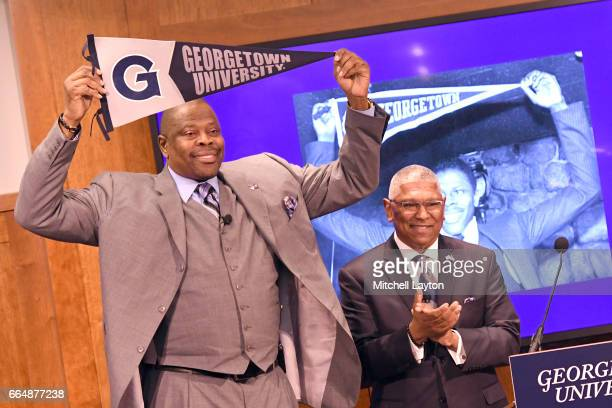 Georgetown University athletic director Lee Reed introduces NBA Hall of Famer and former Georgetown Hoyas player Patrick Ewing as the Georgetown...