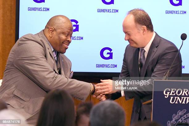 Georgetown University president John J DeGioia introduces NBA Hall of Famer and former Georgetown Hoyas player Patrick Ewing as the Georgetown Hoyas'...