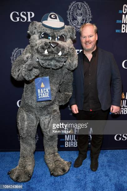 Georgetown University's Jack the Bulldog and Jim Gaffigan pose during Gaffigan Mulaney Birbiglia Stand Up for Georgetown at Brooklyn Academy of Music...