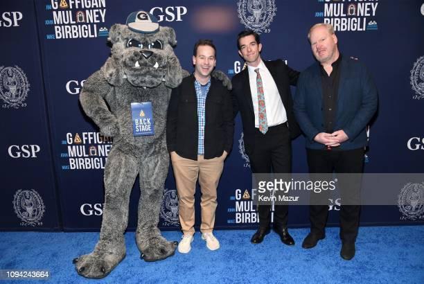Georgetown University's Jack the Bulldog Mike Birbiglia John Mulaney and Jim Gaffigan pose during Gaffigan Mulaney Birbiglia Stand Up for Georgetown...