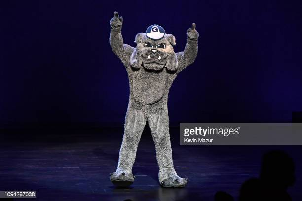 Georgetown University's Jack the Bulldog performs onstage during Gaffigan Mulaney Birbiglia Stand Up for Georgetown at Brooklyn Academy of Music on...