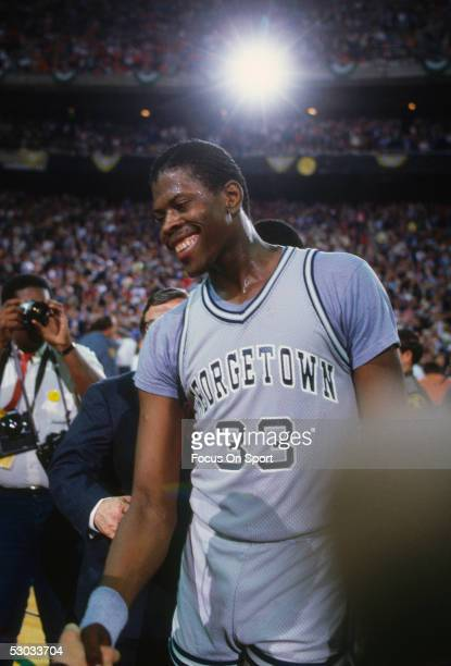 Georgetown University's Patrick Ewing laughs during a break in action