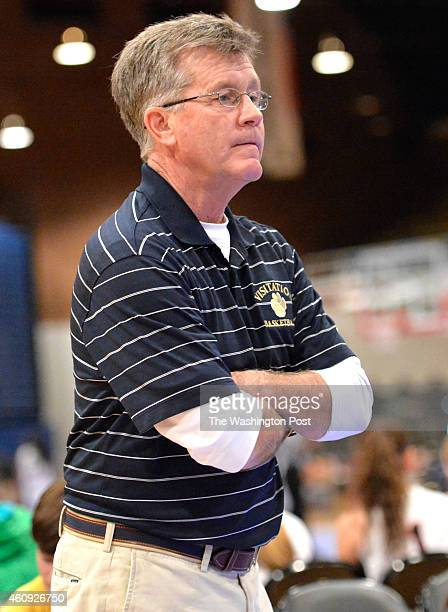 Georgetown Visitation head coach Mike McCarthy watched his team in the second half against Stonewall Jackson in the Title IX Holiday Invitational...