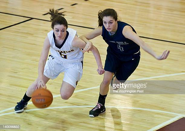 Georgetown Visitation's Kelsey Tillman tries to get by Flint Hill's Savannah Block in the first half Sunday February 26 2012 in Washington DC at...