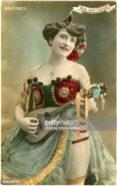 Georgette Delmares French Actress and Showgirl Playing Lute HandTinted Postcard circa 1910