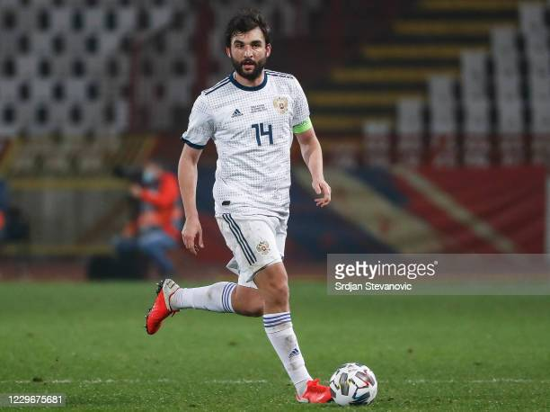 Georgi Dzhikiya of Russia in action during the UEFA Nations League group stage match between Serbia and Russia at Rajko Mitic Stadium on November 18,...