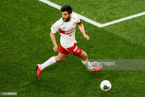 Georgi Dzhikiya of Spartak Moscow in action during the Russian Cup semi final match between FC Zenit Saint Petersburg and FC Spartak Moscow on July...