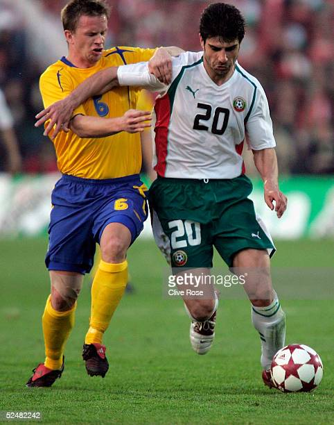 Georgi Ivanov of Bulgaria and Tobias Linderoth of Sweden in action during the Group 8 World Cup Qualifying match between Bulgaria and Sweden at the...
