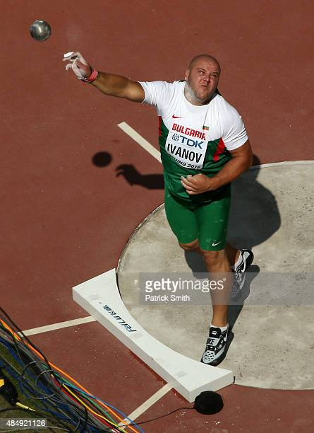 Georgi Ivanov of Bulgaria competes in the Men's Shot Put qualification during day two of the 15th IAAF World Athletics Championships Beijing 2015 at...