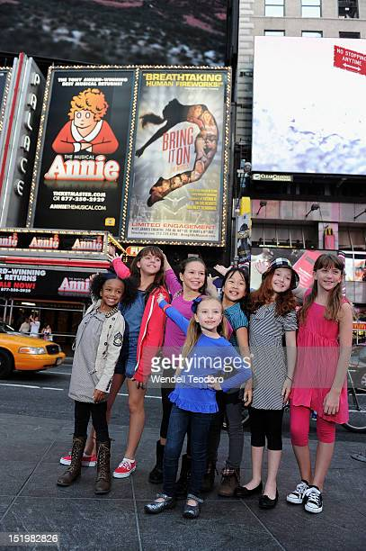 Georgi James and Tyrah Skye Odoms and Madi Rae Dipietro and Junah Jang and Emily Rosenfeld and Taylor Richardson and Jaidyn Youngn attends the Annie...