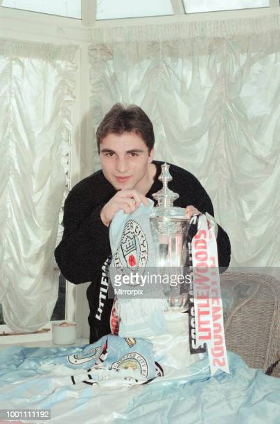 Georgi Kinkladze, Manchester City midfielder, photocall with The FA Cup sponsored by Littlewoods, ahead of Fifth Round match , Monday 10th February...