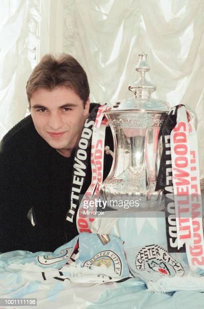 Georgi Kinkladze Manchester City midfielder photocall with The FA Cup sponsored by Littlewoods ahead of Fifth Round match Monday 10th February 1997...