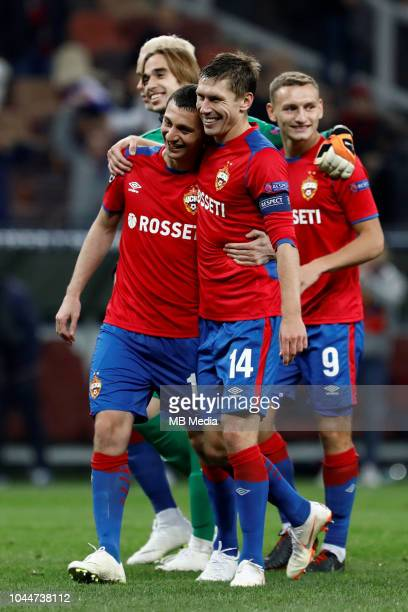 Georgi Kyrnats Alan Dzagoev Kirill Nababkin and Fedor Chalov of CSKA Moscow celebrate victory during the Group G match of the UEFA Champions League...