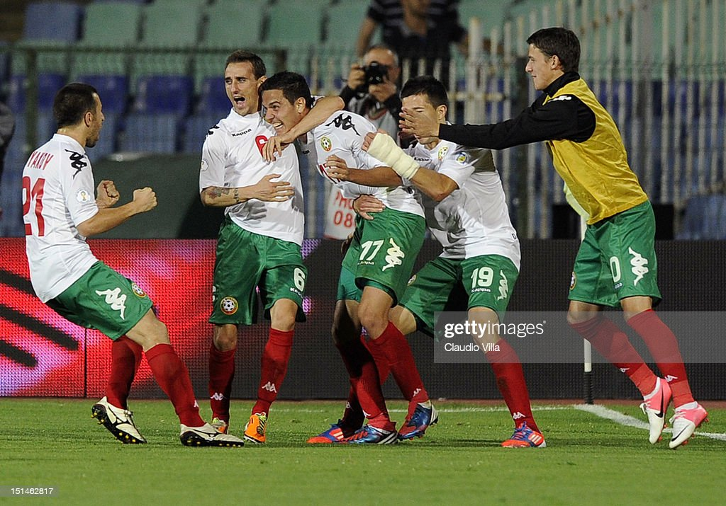 Georgi Milanov #17 of Bulgaria celebrates with team-mates after scoring their team's second goal during the FIFA 2014 World Cup Qualifier match between Bulgaria and Italy at Vasil Levski National Stadium on September 7, 2012 in Sofia, Bulgaria.