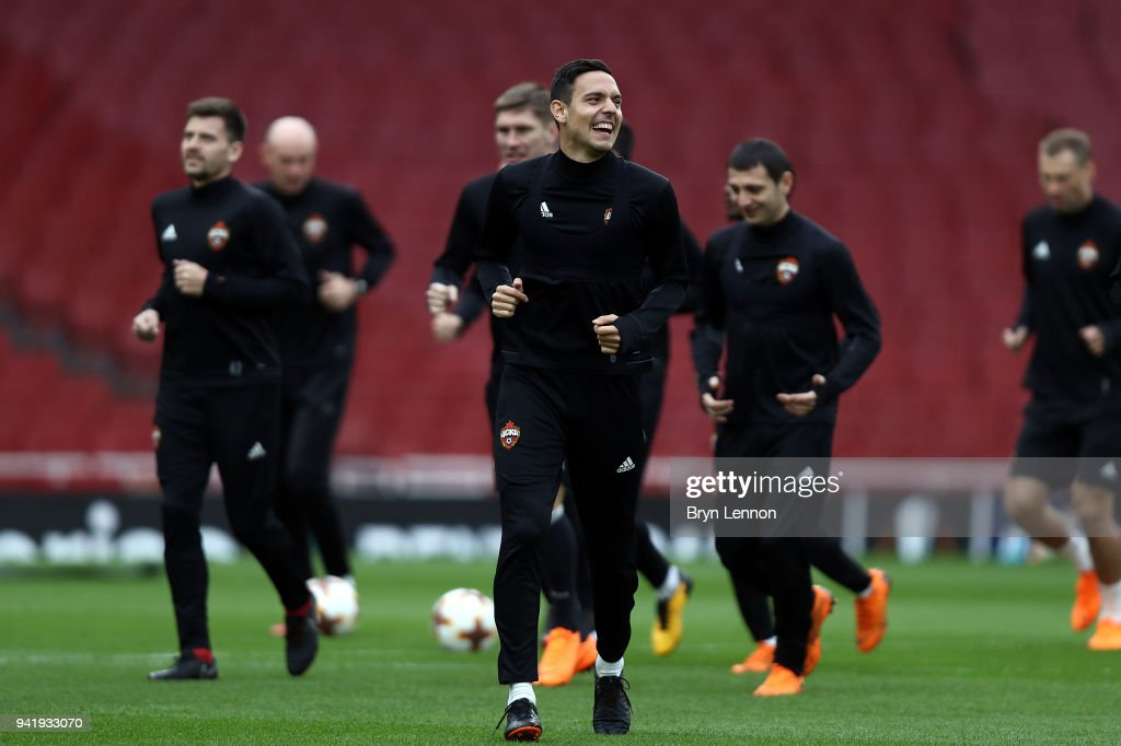 Georgi Milanov of CSKA Moscow takes part in a training session ahead of their Europa League 1/4 final 1st leg match against Arsenal at the Emirates Stadium on April 4, 2018 in London, England.