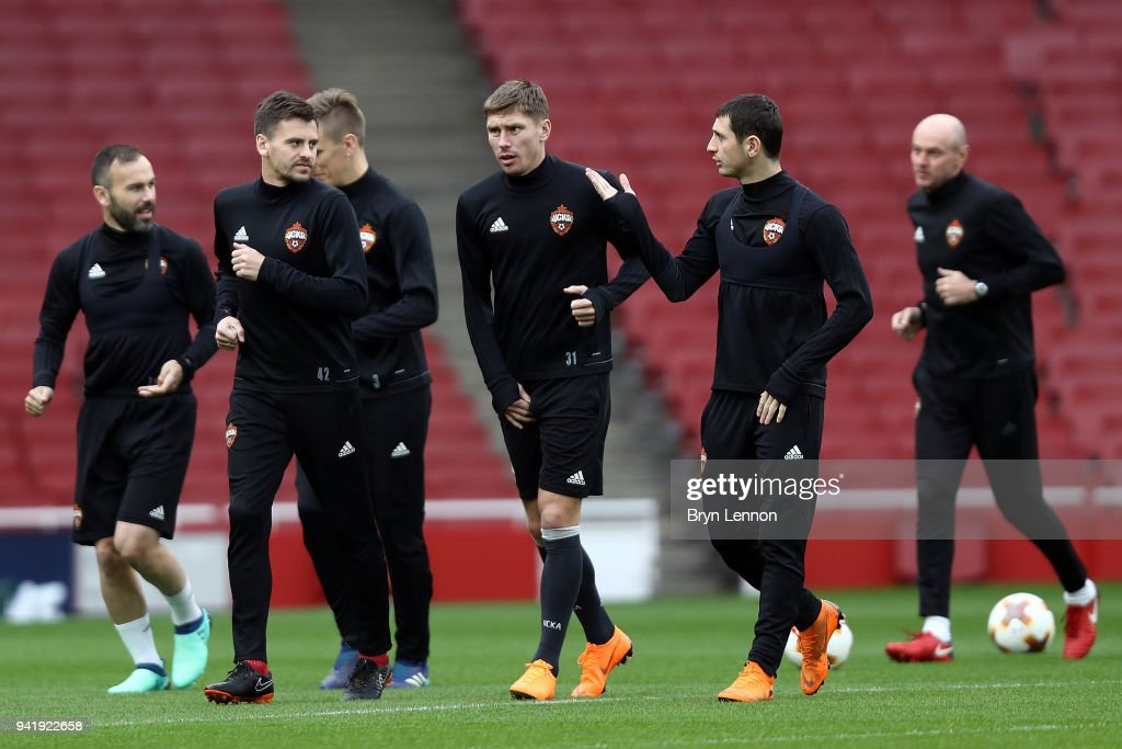 Georgi Shchennikov (2nd l) of CSKA Moscow takes part in training session ahead of their Europa League 1/4 final 1st leg match against Arsenal at the Emirates Stadium on April 4, 2018 in London, England.