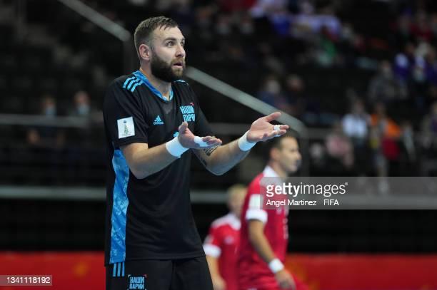 Georgi Zamtaradze of RFU reacts during the FIFA Futsal World Cup 2021 group B match between Guatemala and Football Union Of Russia at Kaunas Arena on...