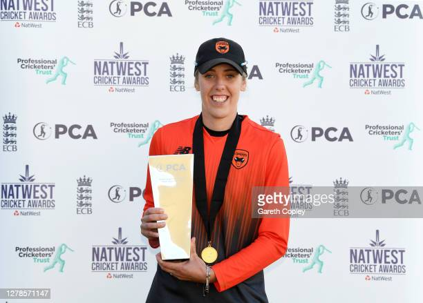 Georgia Adams of Southern Vipers poses with the Rachael Heyhoe Flint Trophy Player of the Year trophy as part of the 2020 NatWest Cricket Awards...