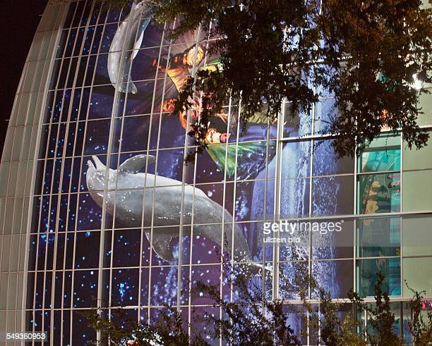 Georgia Aquarium at nighttime in Atlanta Georgia USA