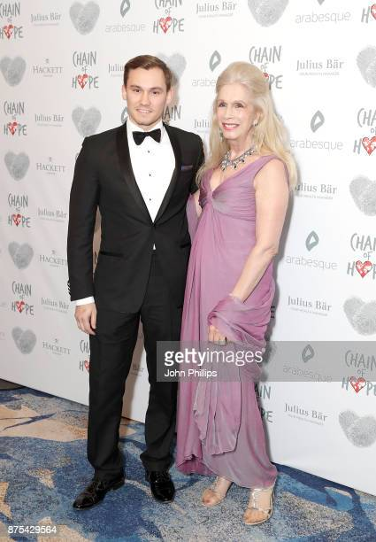 Georgia Arianna Lady Colin Campbell and son Dima Ziadie arriving at the Chain Of Hope Gala Ball held at Grosvenor House on November 17 2017 in London...