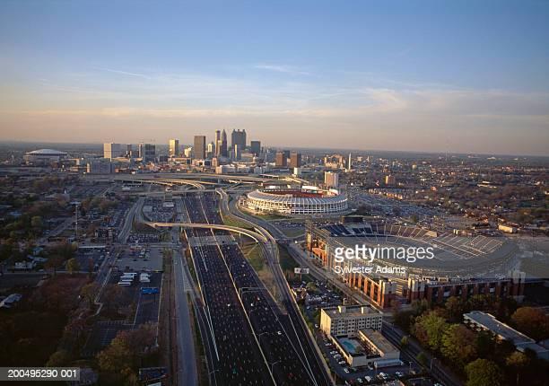 USA, Georgia, Atlanta, cityscape at dusk, aerial view