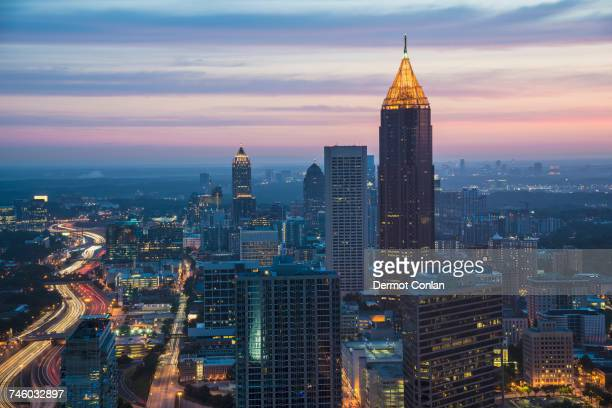 usa, georgia, atlanta, cityscape with skyscrapers at dawn - atlanta georgia stock pictures, royalty-free photos & images