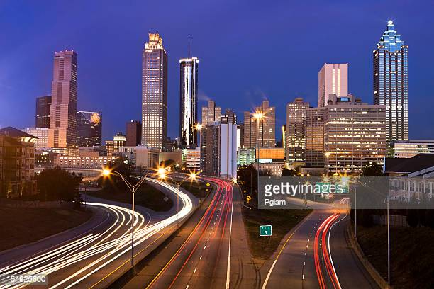 usa, georgia, atlanta skyline, dusk - atlanta skyline stock pictures, royalty-free photos & images