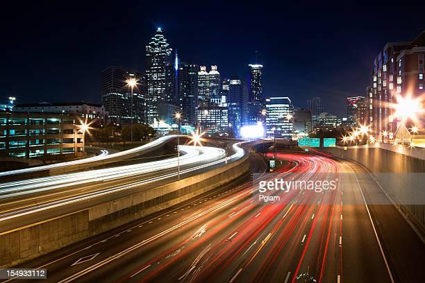 USA, Georgia-Horizonte de Atlanta, al atardecer