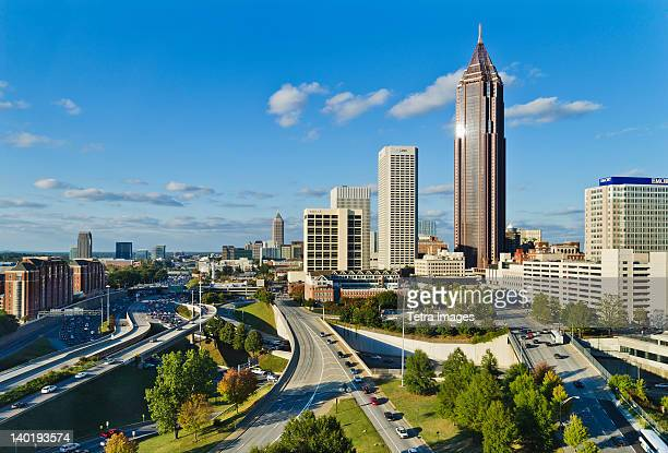 usa, georgia, atlanta, view of downtown - atlanta skyline stock pictures, royalty-free photos & images