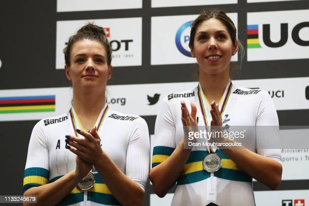 Georgia Baker and Amy Cure of Australia celebrate winning the silver medal in Women's Madison the on day four of the UCI Track Cycling World...