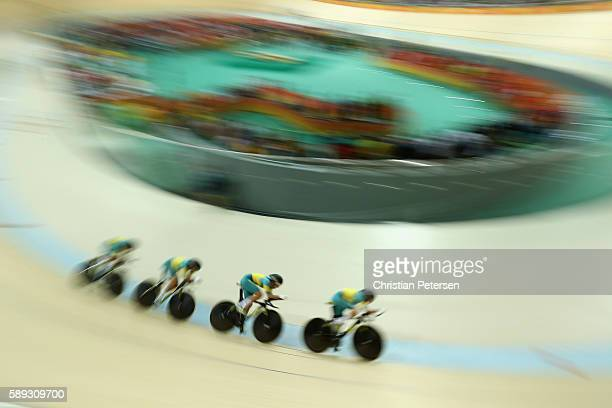 Georgia Baker Annette Edmondson Ashlee Ankudinoff and Amy Cure of Australia compete in the Women's Team Pursuit Final for the 56th Place on Day 8 of...