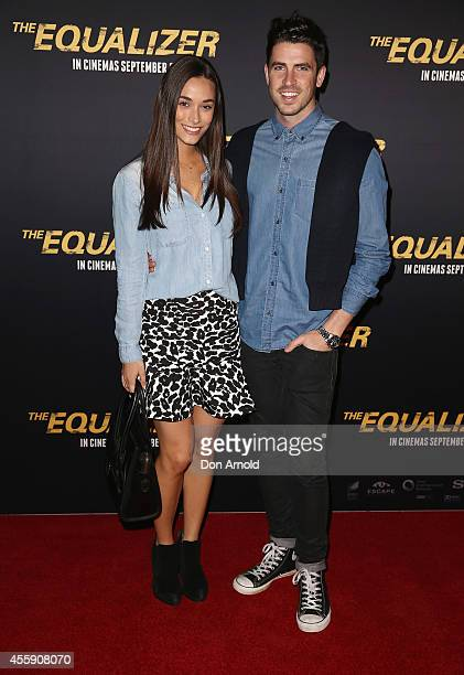 "Georgia Berg and Scott Tweedie pose on the red carpet at ""The Equalizer"" Sydney Premiere at Event Cinemas George Street onSeptember 22, 2014 in..."