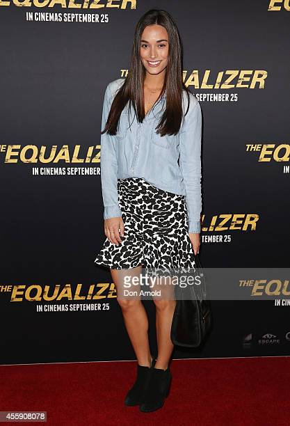 "Georgia Berg poses on the red carpet at ""The Equalizer"" Sydney Premiere at Event Cinemas George Street onSeptember 22, 2014 in Sydney, Australia."