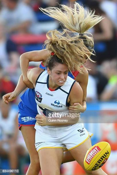 Georgia Bevan of the Crows is tackled by Jess Gardner of the Bulldogs during the round two AFL Women's match between the Western Bulldogs and the...