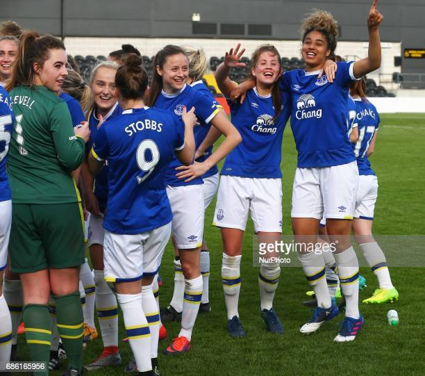 LR Georgia Brougham and Gabby George of Everton Ladies celebrates After Women's Super League 2 Spring Series match between London Bees against...