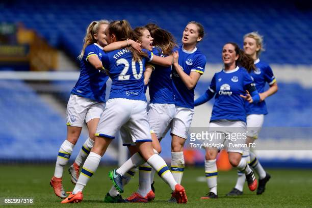 Georgia Brougham celebrates her goal with Everton team mates during the WSL 2 match between Everton Ladies and Watford Ladies at Goodison Park on May...