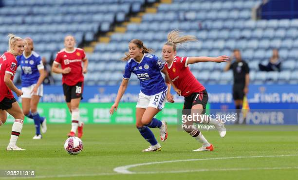 Georgia Brougham of Leicester City Women in action with Ella Toone of Manchester United Women during the Barclays FA Women's Super League match...